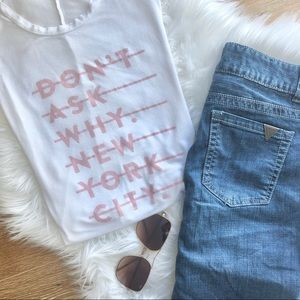 3/$30 DON'T ASK WHY New York City white tank top